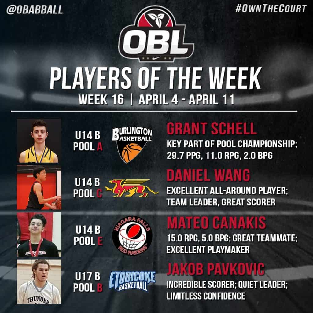 OBL Player of the Week Grant Schell